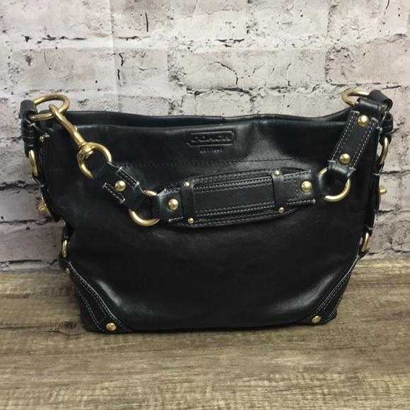 Coach Handbags - Coach 10615 black Carly handbag leather hobo a59d66342726b